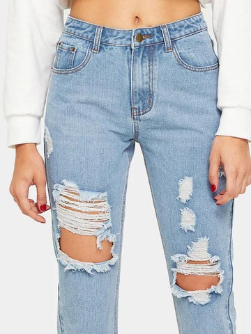Ripped Detail Light Wash Jeans