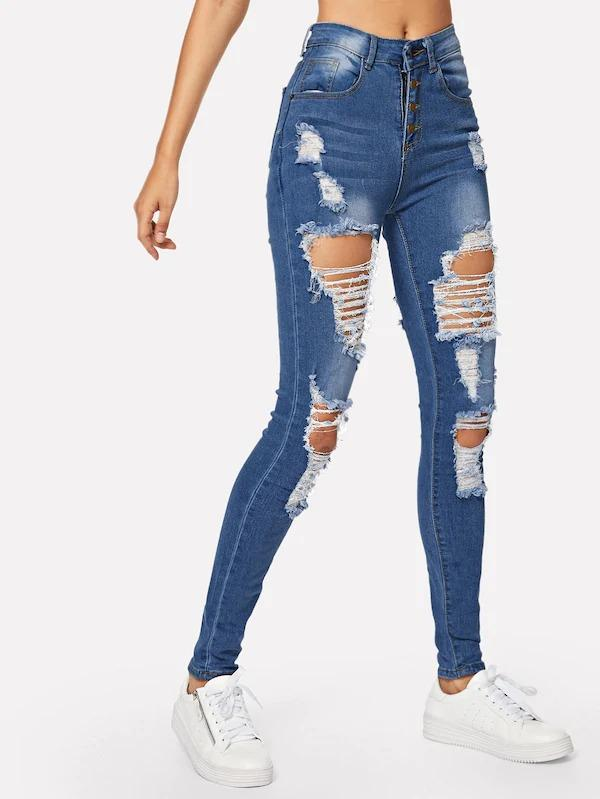 Ripped Faded Wash Button Fly Skinny Jeans