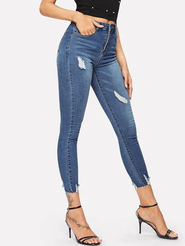 Ripped Frayed Hem Ankle Jeggings