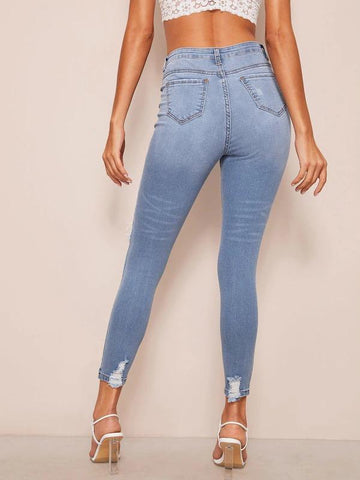 Ripped High Waist Skinny Jeans