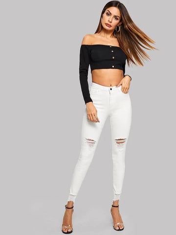 Ripped Raw Hem Jeggings