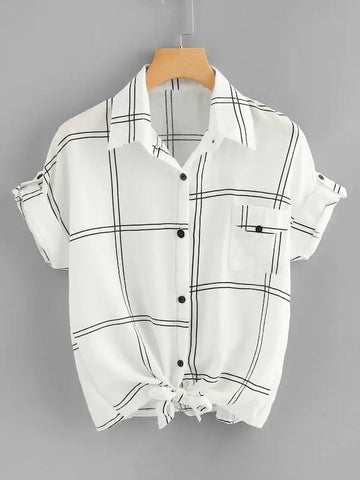 Roll Tab Sleeve Knot Grid Shirt