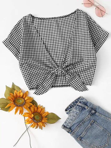 Rolled Sleeve Knot Front Gingham Crop Top