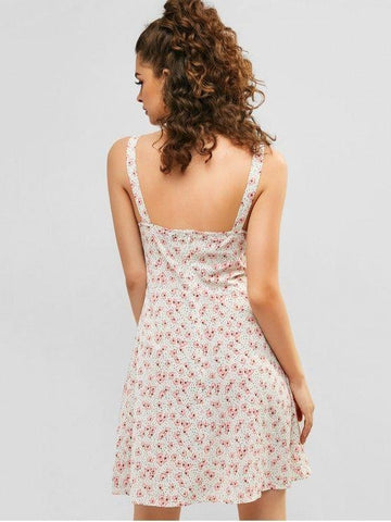 Ruched Floral Sundress - Warm White