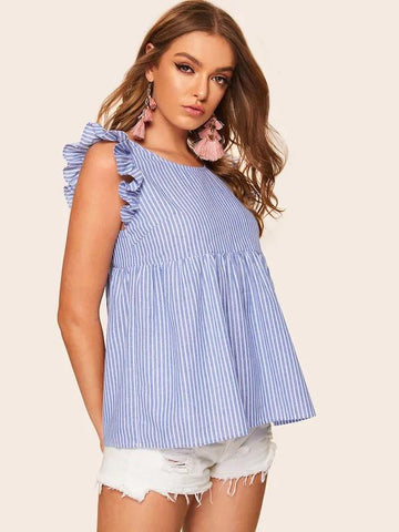 Ruffle Armhole Tie Back Striped Blouse