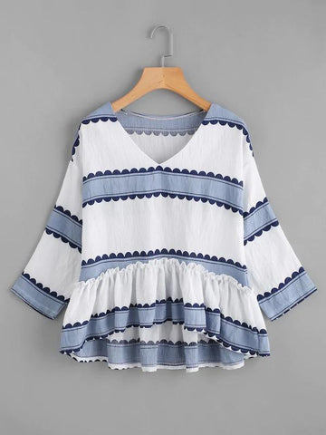 Ruffle Dip Hem Striped Smock Blouse