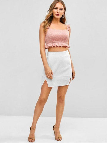Scoop Collar Ruffle Polka Dot Tank Top
