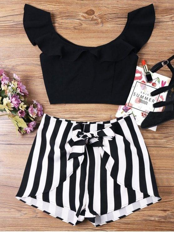 Ruffle Striped Shorts Two Piece Set