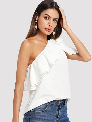 Ruffle Trim Knotted One Shoulder Top