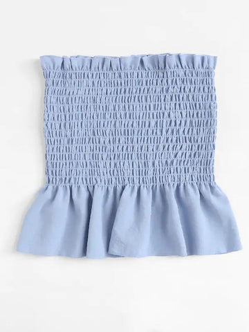 Ruffle Trim Pleated Tube Top