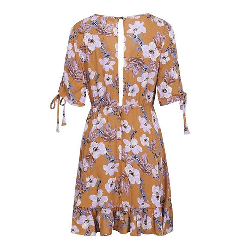 Ruffle floral print short sleeve drawstring dress