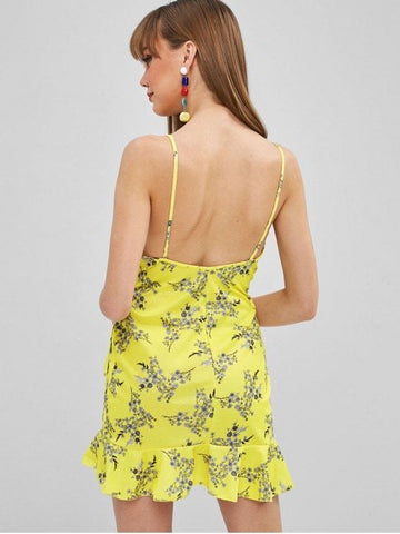 Ruffled Tied Floral Cami Dress