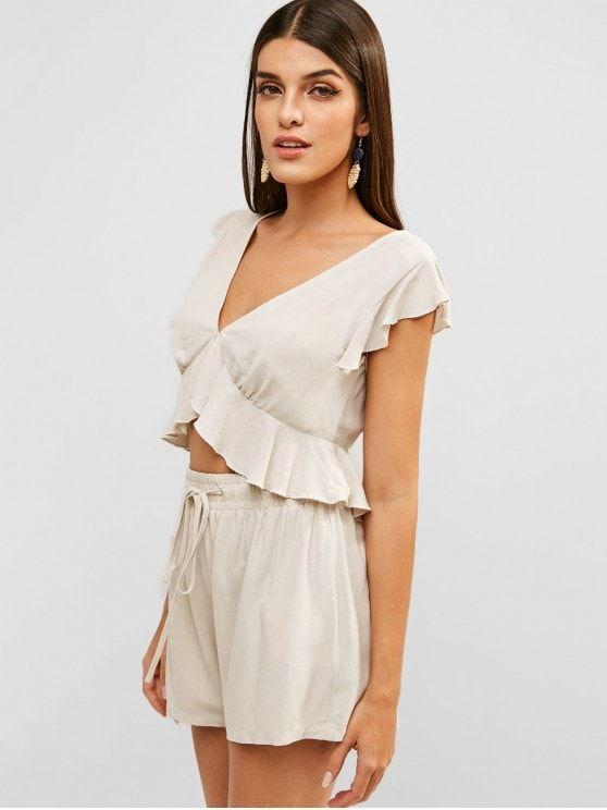 Ruffles Cropped Top And Shorts Set