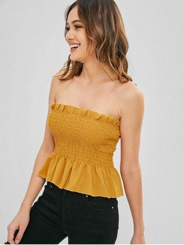 Sexy Ruffles Shirred Bandeau Top