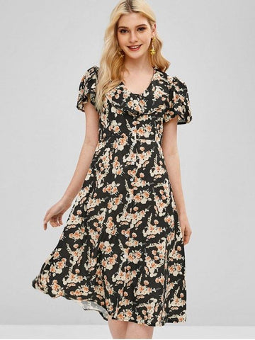 Ruffles Button Up Floral Dress