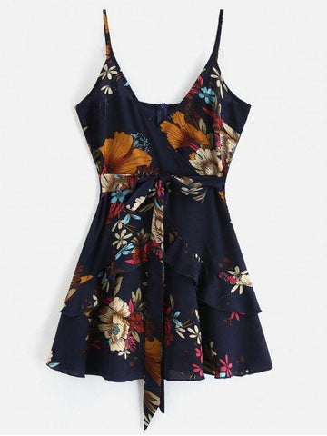 Ruffles Knotted Floral Cami Dress ‰ÛÒ Midnight Blue M
