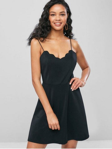 Scalloped Cami A Line Dress