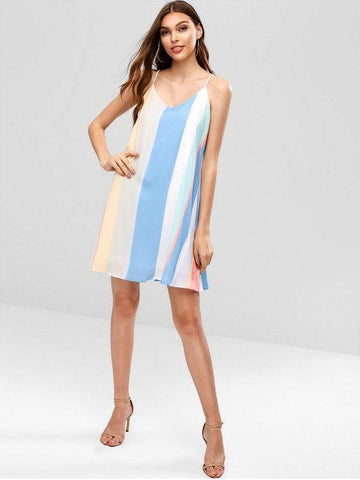 Seam Pockets Lattice Stripes Cami Dress