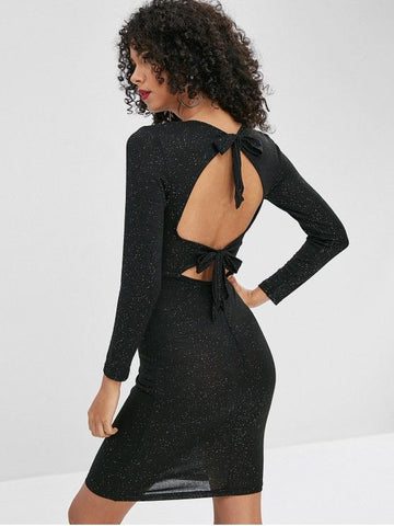 Sequined Open Back Bodycon Dress