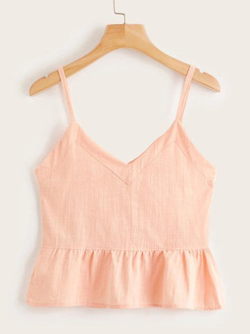 Single Breasted Ruffle Hem Cami Top