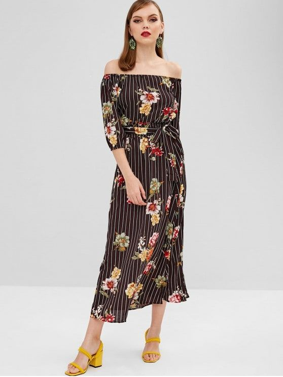 Slit Floral Stripes Off Shoulder Dress