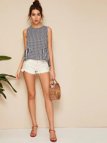 Smock Gingham Shell Top