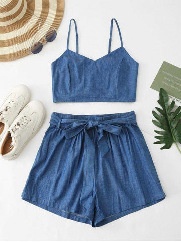 Smocked Chambray Belted Shorts Set