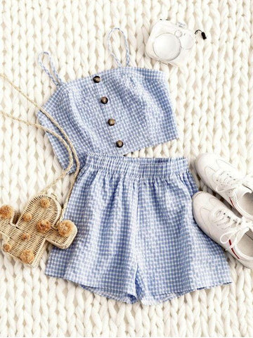 Smocked Gingham Buttoned Top And Shorts Set