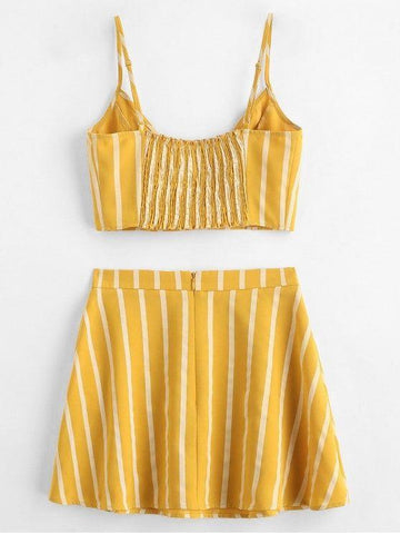 Smocked Stripes Top And Skirt Set
