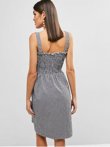Smocked Gingham A Line Dress