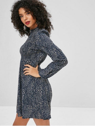 Smocked Leopard Print A Line Dress