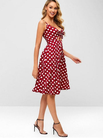 Smocked Tie Front Polka Dot Dress