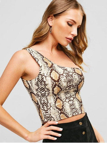 Fashion Snakeskin Print One Shoulder Crop Tank Top