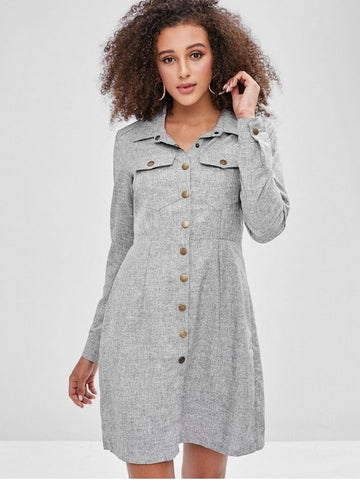 Snap Button Pockets Shirt Dress