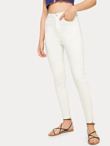 Solid High Rise Skinny Jeans