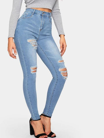 Solid Ripped Skinny Jeans