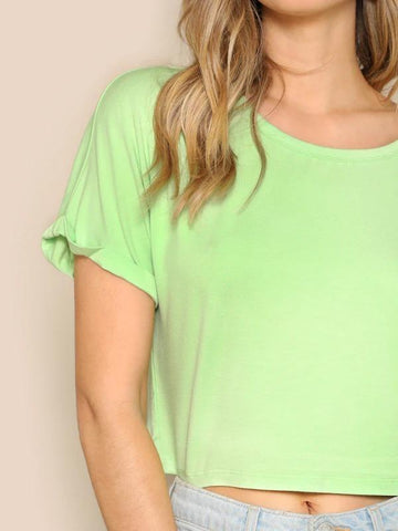 Solid Roll Up Sleeve Crop Top