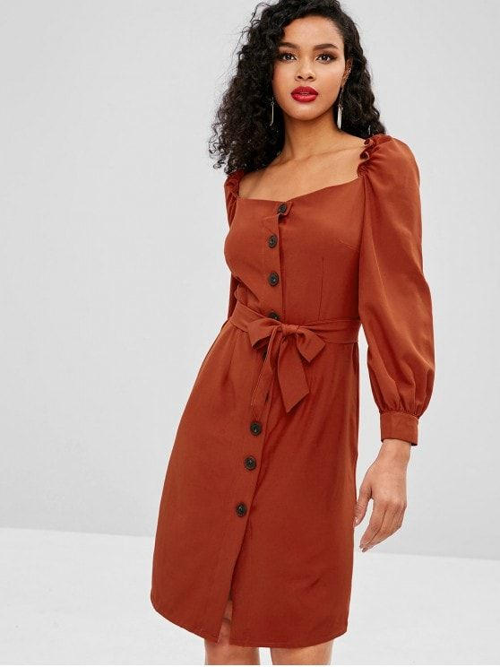 Square Button Up Long Sleeve Dress