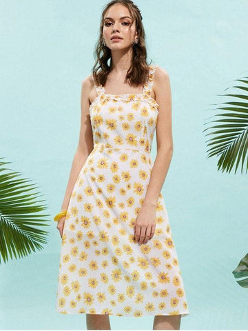 Square Neck Frilled Floral Midi Dress