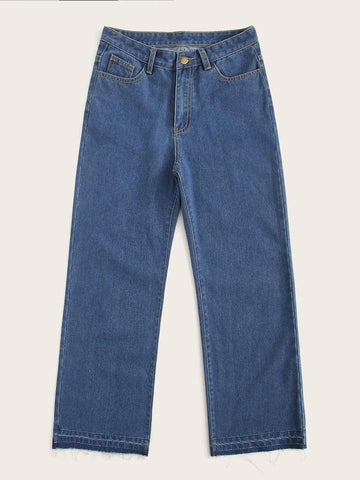 Stitch Detail Wide Leg Jeans