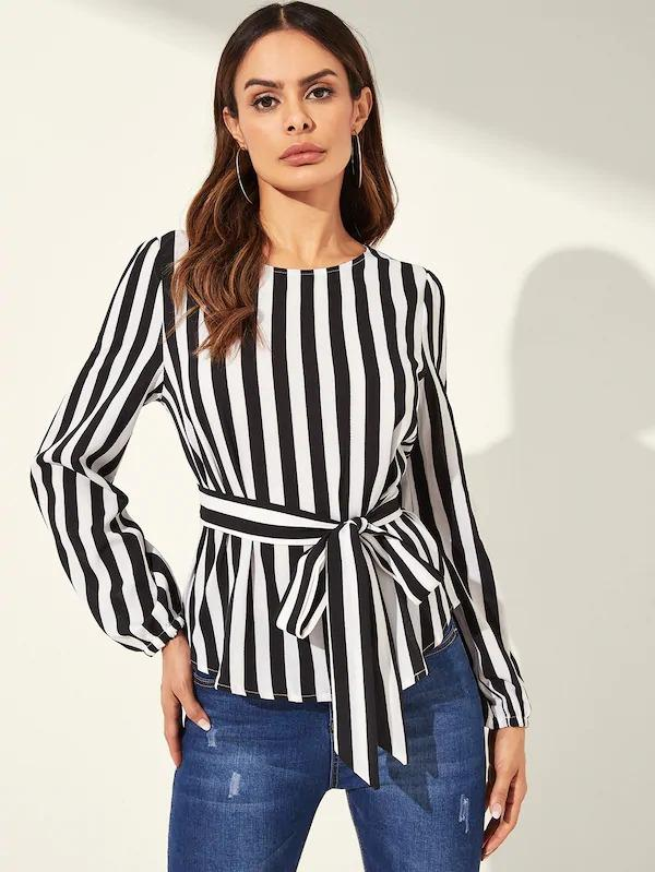 Striped Belted Top