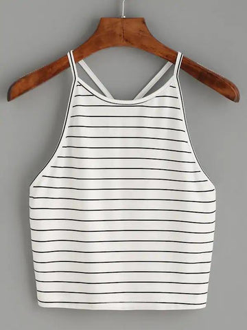 Striped Y Back Cami Top