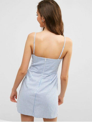 Striped Button Embellished Mini Dress