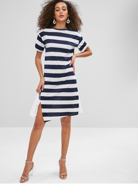 Striped Flounce Slit T Shirt Dress