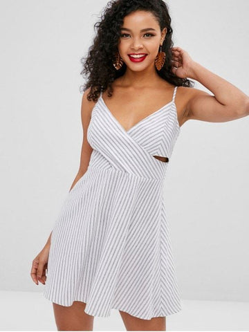 Striped Overlap Mini Cami Dress