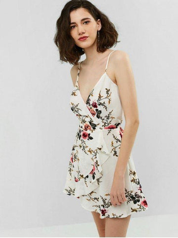 Surplice Flower Flounce Cami Dress