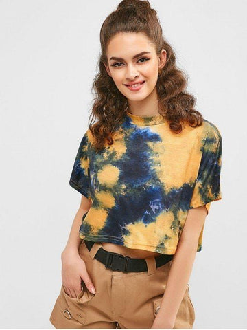 Fashion Tie Dye Batwing Sleeve Crop T-shirt