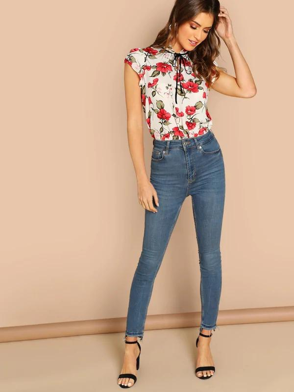 Tie Neck Frill Trim Floral Top