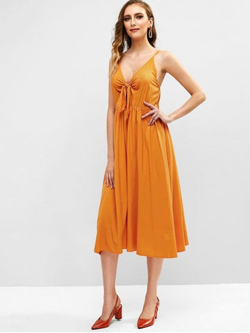 Tie Front Plain Midi Cami Dress