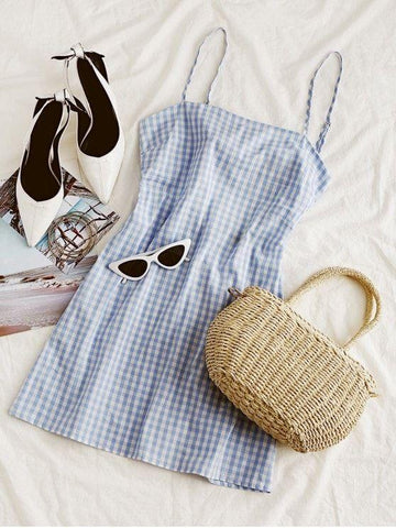Tie Gingham Cut Out Mini Dress